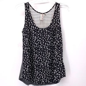 ANTHRO. BLK/WHT/GRAY LEOPARD/STRIPE SLEEVELESS TOP